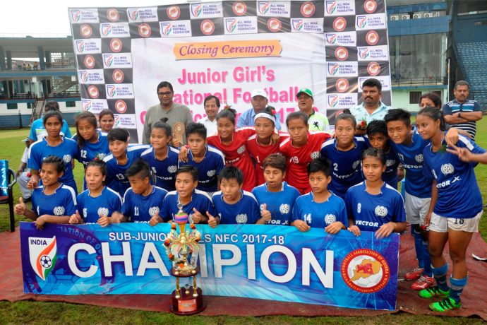 Manipur win Junior Girls National Championship 2017 (Photo courtesy: Football Association of Odisha)