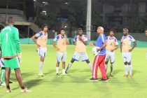 Mauritius national coach Francisco Filho and his team during a training session in Mumbai (Photo courtesy: AIFF Media)