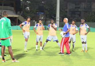 Mauritius national coach Francisco Filho and his team during a training session in Mumbai (Photo courtesy: AIFF Media)