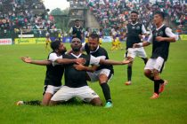 Mohammedan Sporting's Aser Pierrick Dipanda Dicka and his team mates celebrating a goal (Photo courtesy: Mohammedan Sporting Club)