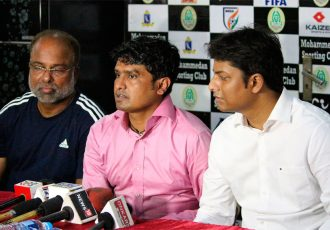 Mohammedan Sporting Club's Ghazal uz Zafar, Dipendu Biswas and Belal Ahmed Khan during a press conference (Photo courtesy: Mohammedan Sporting Club)