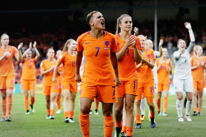 The Netherlands Women's national team celebrating at the UEFA Women's EURO 2017 (Photo courtesy: Nike)