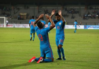 Robin Singh and Jackichand Singh celebrating India's first goal against Mauritius. (Photo courtesy: AIFF Media)