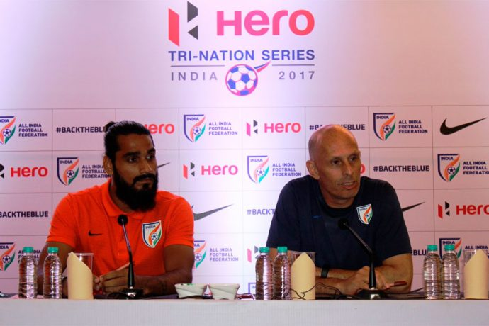 Sandesh Jhingan and Stephen Constantine during the Indian national team press conference (Photo courtesy: AIFF Media)