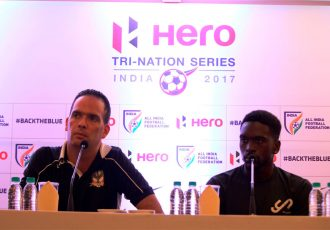 St. Kitts and Nevis coach Jacques Passy and one of his players (Photo courtesy: AIFF Media)