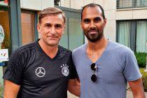 Germany U-21 head coach Stefan Kuntz and Chris Punnakkattu Daniel at the Hotel-Residence Klosterpforte. (© CPD Football)