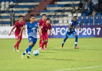 Skipper Sunil Chhetri sends Bengaluru FC into the lead with a chipped penalty in the first half of the AFC inter-zone semifinal between Bengaluru FC and 4.25 SC from North Korea at the Kanteerava Stadium, in Bengaluru. (Photo courtesy: Bengaluru FC)