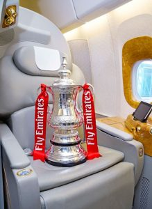 The Emirates FA Cup on board an Emirates Aircraft (Photo courtesy: Emirates)