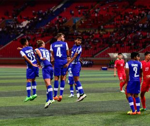 Bengaluru FC players in action against 4.25 SC at the May Day Stadium, in Pyongyang. (Photo courtesy: Bengaluru FC)