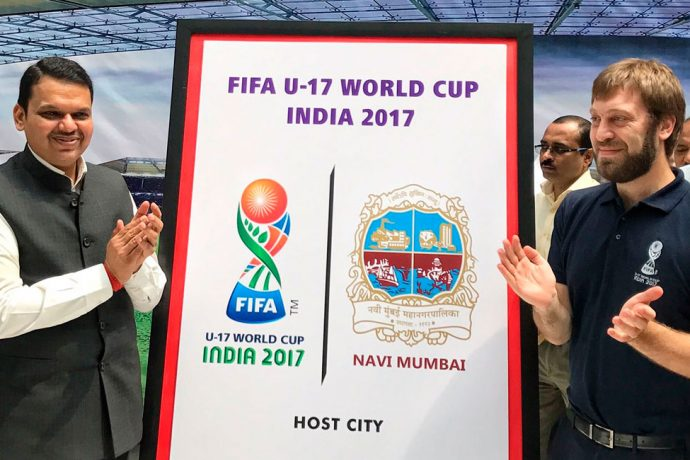 Maharashtra CM Devendra Fadnavis launches Navi Mumbai's FIFA U-17 World Cup India 2017 Host City Logo (Photo courtesy: FIFA U-17 World Cup India 2017 LOC)