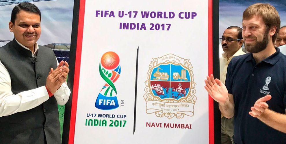 Maharashtra CM Devendra Fadnavis launches Navi Mumbai's FIFA U-17 World Cup India 2017 Host City Logo (Photo courtesy: FIFA U-17 World Cup India 2017 LOC)