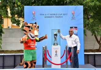 Sports Minister of Goa Manohar Azgaonkar with Kheleo, the official mascot for the FIFA U-17 World Cup India 2017 (Photo courtesy: FIFA U-17 World Cup India 2017 LOC)