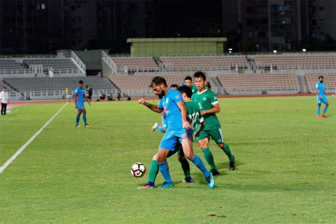 India striker Balwant Singh in action against Macau in the AFC Asian Cup UAE 2019 Qualifiers. (Photo courtesy: AIFF Media)