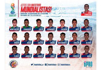 Costa Rica name 21-member squad for FIFA U-17 World Cup India 2017. (Image courtesy: Federación Costarricense de Fútbol)