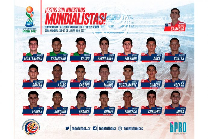Costa Rica name 21-member squad for FIFA U-17 World Cup India 2017. (Image courtesy: Federación Costarricense de Fútbol)