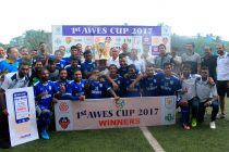 Dempo Sports Club pose with the AWES Cup alongside sports minister Manohar Azgaonkar, AWES president Avertano Furtado and Dempo SC chairman Shrinivas Dempo. (Photo courtesy: AWES)