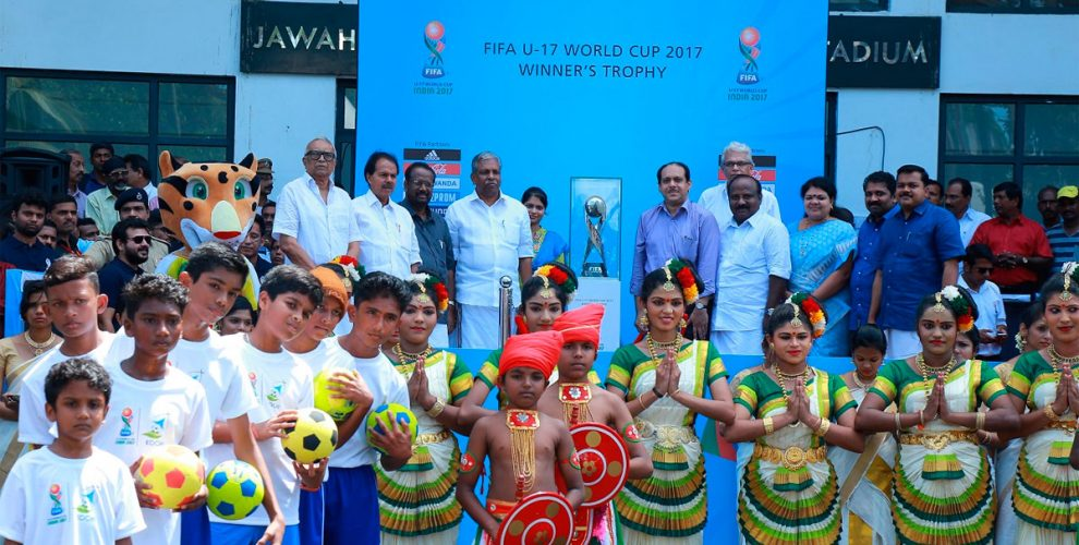 FIFA U-17 World Cup Winner's Trophy unveiled in Kochi (Photo courtesy: FIFA U-17 World Cup India 2017)