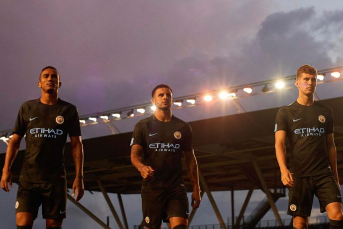 Danilio, Kyle Walker and John Stones debut Manchester City's dazzle camo third kit (Photo courtesy: Nike)