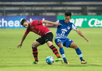 Udanta Singh battles for possession during the AFC Cup Inter-Zone Final played between Bengaluru FC and FC Istiklol of Tajikistan at the Kanteerava Stadium, in Bengaluru. (Photo courtesy: Bengaluru FC)