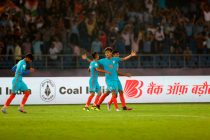 India's first ever goalscorer in a FIFA World Cup, Jeakson Singh Thounaojam, celebrating his goal against Colombia in the FIFA U-17 World Cup India 2017. (Photo courtesy: AIFF Media)