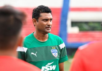Bengaluru FC 'B' Head Coach Naushad Moosa in training at the Bangalore Football Stadium. (Photo courtesy: Bengaluru FC)