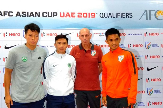 AFC Asian Cup UAE 2019 Qualifier India v Macau pre-match press conference with Indian national team coach Stephen Constantine and captain Sunil Chhetri. (Photo courtesy: AIFF Media)