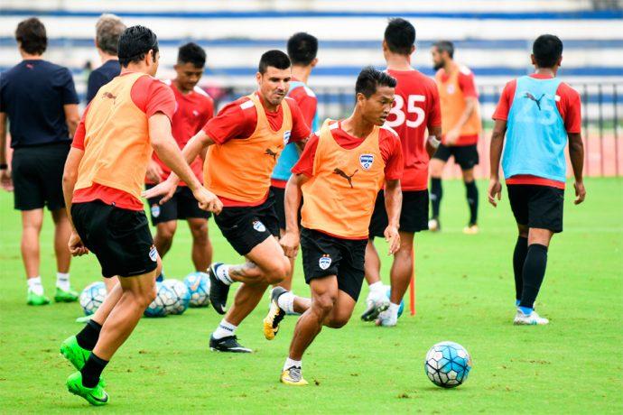 Bengaluru FC midfielder Boithang Haokip in training at the Kanteerava Stadium. (Photo courtesy: Bengaluru FC)