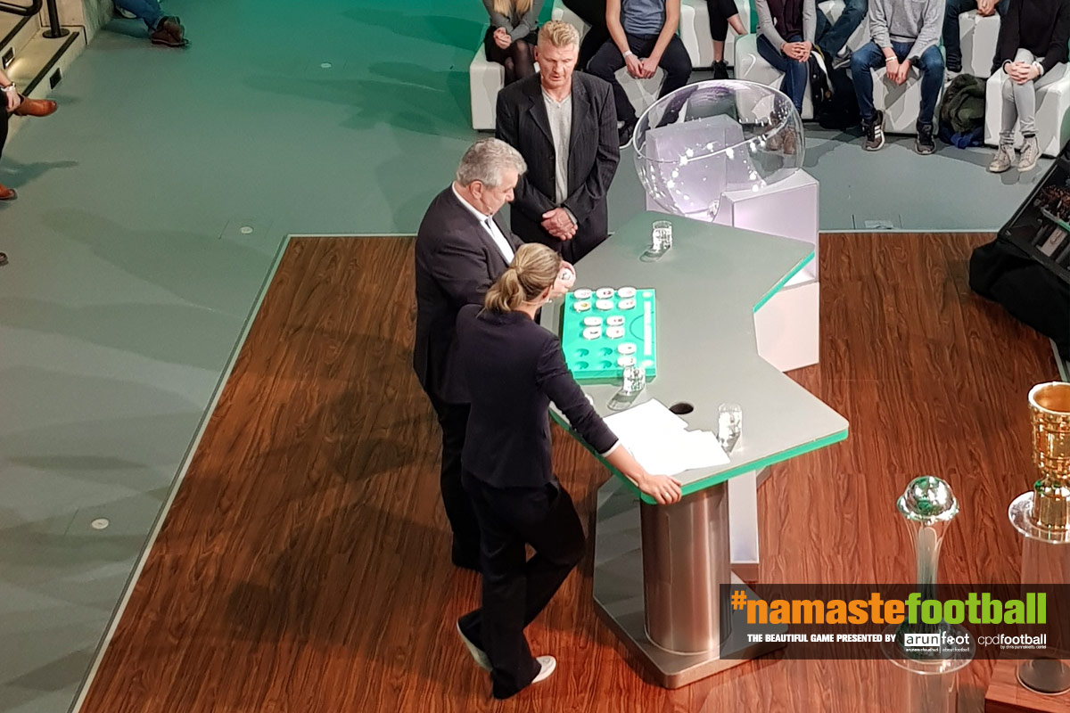 DFB-Pokal Round of 16 draw with former Germany international Stefan Effenberg, DFB vice-president Peter Frymuth and ARD Sportschau presenter Julia Scharf (© CPD Football)
