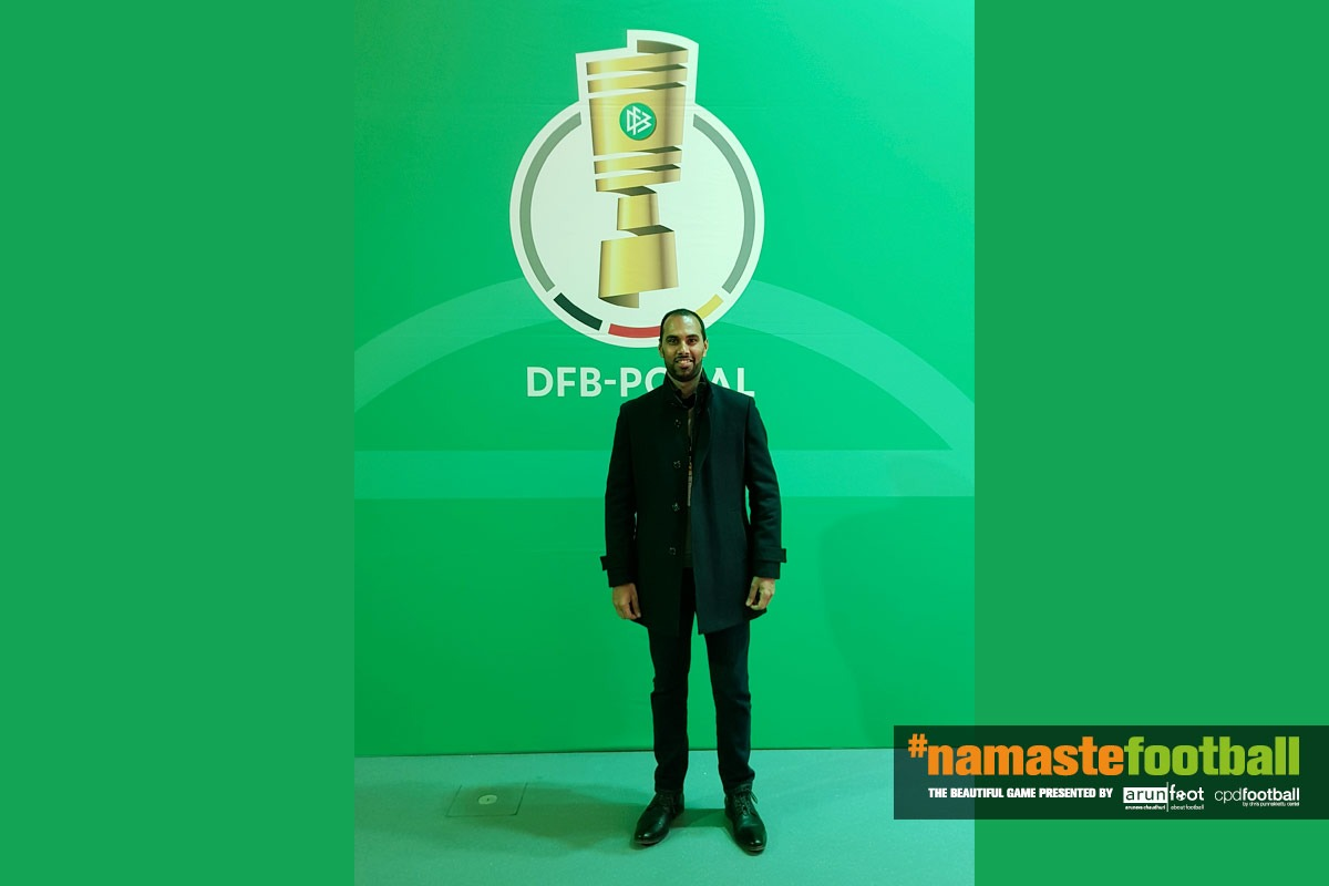 Chris Punnakkattu Daniel at the DFB-Pokal draw at the Deutsches Fußballmuseum in Dortmund (© CPD Football)