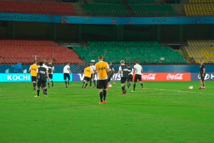 Germany U-17s gearing up for FIFA U-17 World Cup Round of 16 match (Photo courtesy: Screenshot - DFB TV)