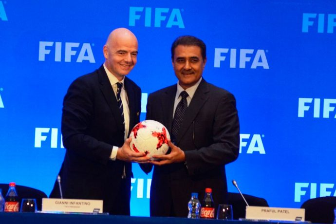 FIFA President Gianni Infantino and AIFF President Praful Patel (Photo courtesy: AIFF Media)