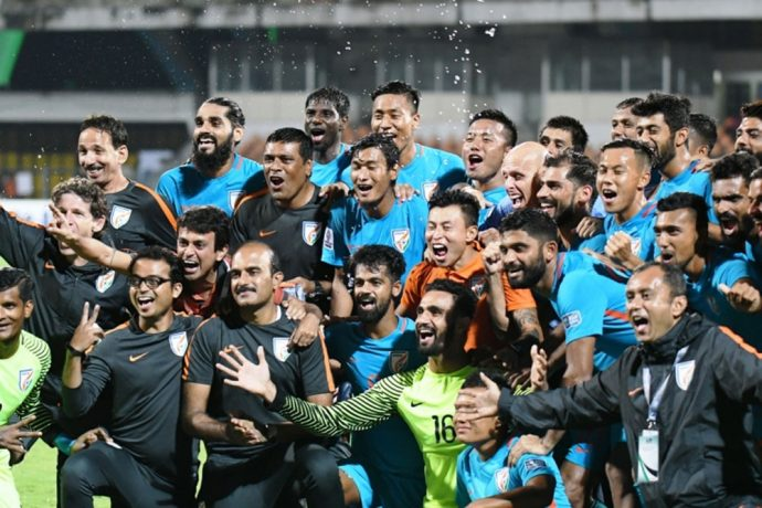 Indian national team celebrating the qualification for the AFC Asian Cup UAE 2019 (Photo courtesy: AIFF Media)