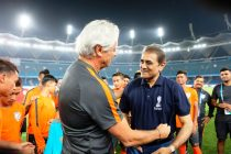 The India U-17 national team with AIFF President Praful Patel (Photo courtesy: AIFF Media)
