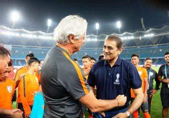 The India U-17 national team with AIFF President Praful Patel (Photo courtesy: AIFF Media)