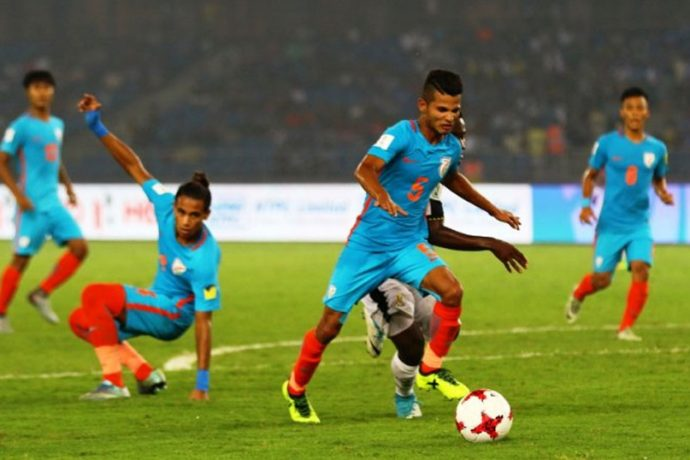 India U-17 star Sanjeev Stalin in action against Ghana in the FIFA U-17 World Cup India 2017. (Photo courtesy: AIFF Media)