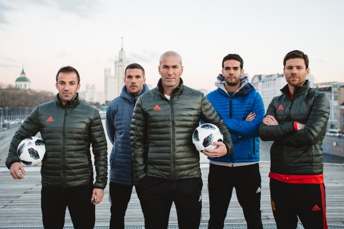 Alessandro Del Piero, Lukas Podolski, Zinedine Zidane, Kaka and Xabi Alonso presenting the Telstar 18 match ball. (Photo courtesy: adidas)