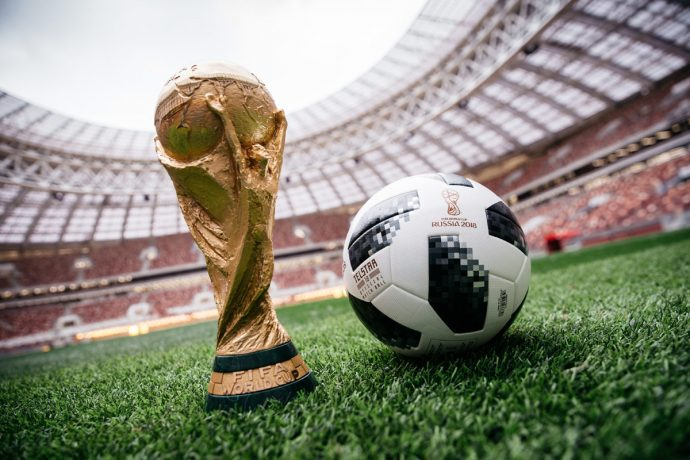 The FIFA World Cup trophy and the Telstar 18, the Official Match Ball for the 2018 FIFA World Cup. (Photo courtesy: adidas)