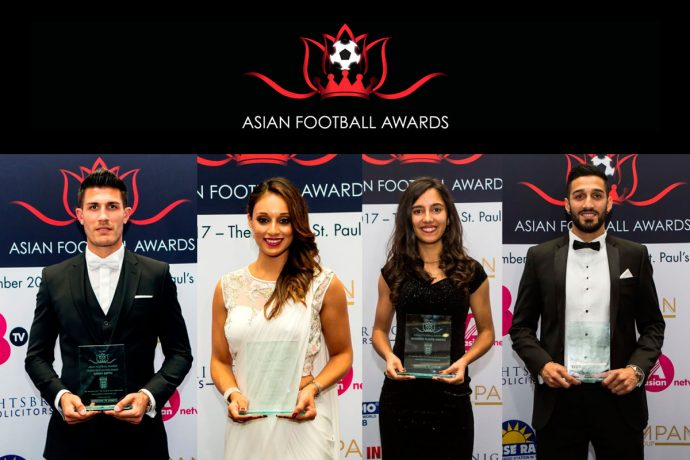 2017 Asian Football Awards winners Danny Batth, Seema Jaswal, Maya Vio and Easah Suliman (Photo courtesy: Asian Football Awards)