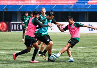 Bengaluru FC striker Miku attempts to dribble past defender Subhasish Bose and Collin Abranches in training at the Bangalore Football Stadium, in Bengaluru. (Photo courtesy: Bengaluru FC)