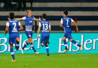 Bengaluru FC's Australian midfielder Erik Paartalu celebrates his opening goal against Delhi Dynamos in an Indian Super League fixtures at the Kanteerava Stadium, in Bengaluru (Photo courtesy: Bengaluru FC)