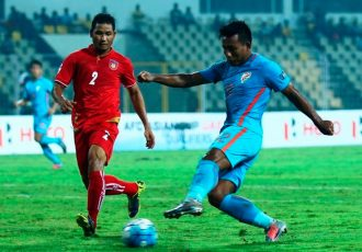 Indian national team striker Jeje Lalpekhlua in action against Myanmar in the AFC Asian Cup UAE 2019 Qualifiers. (Photo courtesy: AIFF Media)