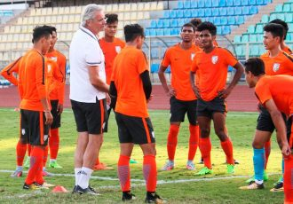 Luís Norton de Matos and with his India junior internationals (Photo courtesy: AIFF Media)