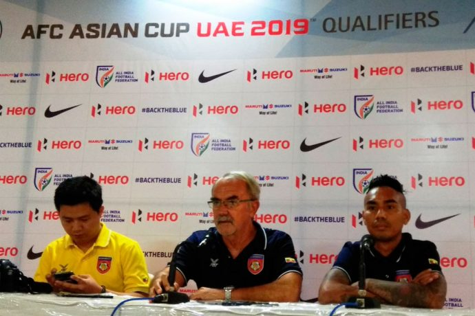 Myanmar coach Gerd Zeise at the AFC Asian Cup UAE 2019 Qualifier pre-match press conference in Goa. (Photo courtesy: AIFF Media)