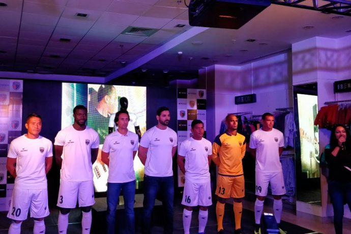 NorthEast United FC and Performax launch new kit for 2017 ISL season (Photo courtesy: NorthEast United FC)