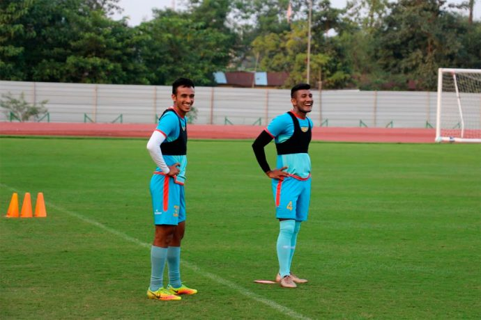 Former Indian international Nirmal Chettri (right) during a NorthEast United FC training session in Guwahati. (Photo courtesy: NorthEast United FC)