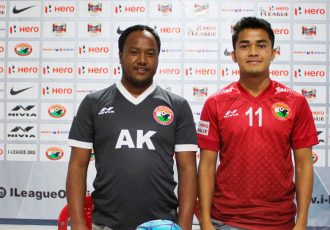Shillong Lajong FC assistant coach Alison Kharsyntiew and defender Hardycliff Nongbri at the I-League pre-match press conference. (Photo courtesy: Shillong Lajong FC)