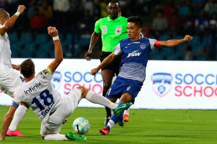 Bengaluru FC star skipper Sunil Chhetri in action against Mumbai City FC in the Indian Super League (ISL). (Photo courtesy: Bengaluru FC)