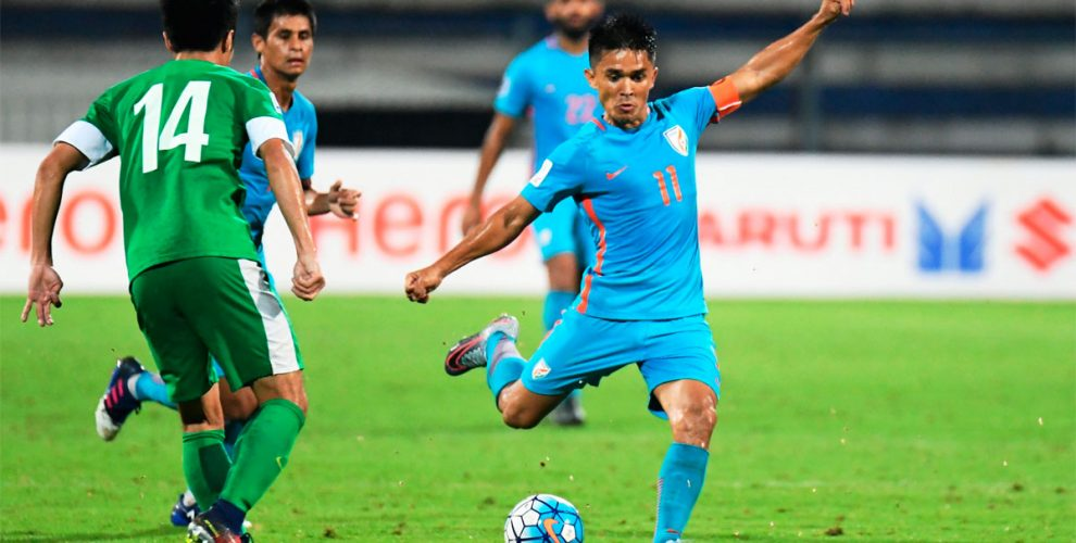 Sunil Chhetri in action for the Indian national team in an AFC Asian Cup UAE 2019 Qualifier against Macau. (Photo courtes: AIFF Media)
