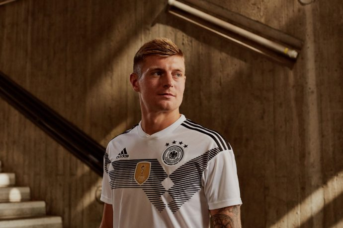 Toni Kroos wearing the new adidas Germany home jersey for the FIFA World Cup Russia 2018 (Photo courtesy: adidas)