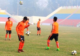 Indian Arrows training session at the Ambedkar Stadium in New Delhi. (Photo courtesy: AIFF Media)